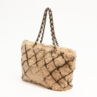 Chanel Matrasse Chain Shoulder Bag Lapin Fur Brown Women''s