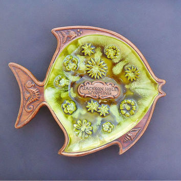 Vintage Jackson Hole Wyoming Souvenir Fish Dish Treasure Craft 1960s Cabin Decor Beach Cottage