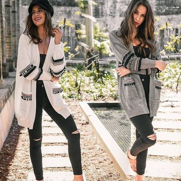 Stripes V-neck Two Pockets Women Oversized Long Cocoon Cardigan