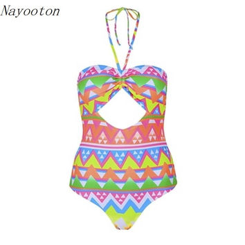2016 New Style one piece swimwear National Wind  Rainbow color Geometric mosaic Sexy Hot Women Swimsuit Bathing Suit  D007