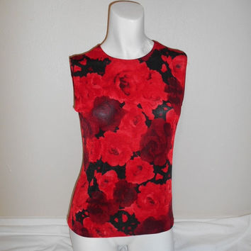 Vintage clothing SALE Vintage 90s Black Red stretchy Floral Flower Rose Top blouse shirt  Grunge Spice Girls Club Kid Clueless