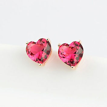 USTYLE Top Quality Small Red Crystal Heart Necklace 18K Gold Plated Fashion Earring for Women