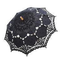 Handmade Cotton Craft Lace Macrame Children Umbrella Wedding Classical Photo   black
