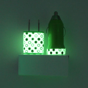 Green Polka Dots Glow in the Dark iPhone Charger w/ portable charger & mobile car charger for USB Devices - iPhone, Android, Samsung,etc.