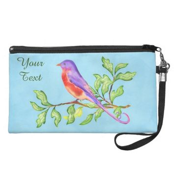 Modern Elegant Colorful Bird on Branches Wristlet