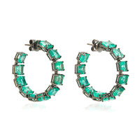 M'O Exclusive: One-Of-A-Kind Emerald Square Hoop Earrings | Moda Operandi