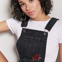 Rose Embroidery Overall Shorts