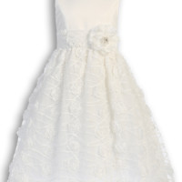 Chiffon Flowers, Satin & Tulle First Holy Communion Dress ( Girl's Sizes 6 to 12 - 8X to 12X )
