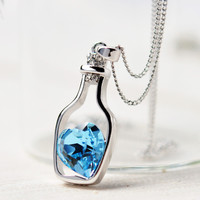 Sterling Silver Blue Heart Crystal Pendant Necklace Popular Style Love Drift Bottles Jewelry