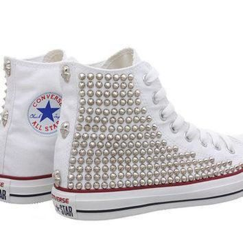 DCCK1IN studded converse white converse with silver tiny cone studs one side studded by cust