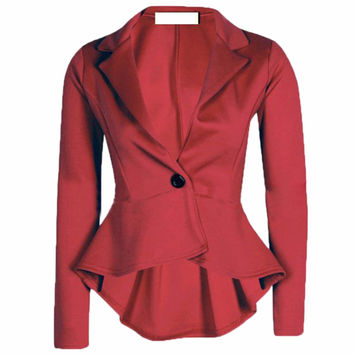 Fashion Outwear Women Business One Button Slim Casual Polyester Suit Jacket