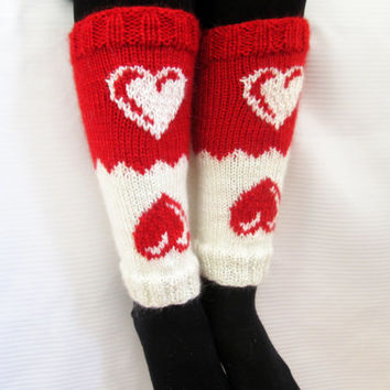Valentine's Day Gift, Boot cuff, Knitted boot cuffs, White, Red,  Two in One, Leg Warmer, Very Long Cuff, Garnished with heart pattern.