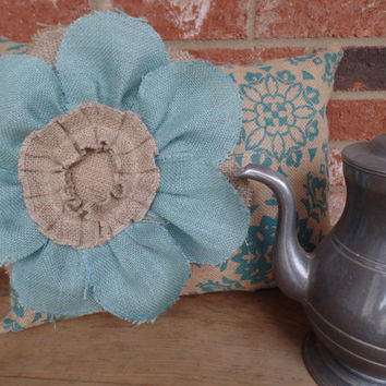 Natural and Teal Print burlap pillow  with a large Burlap Flower, cottage style pillow, decorative burlap pillow