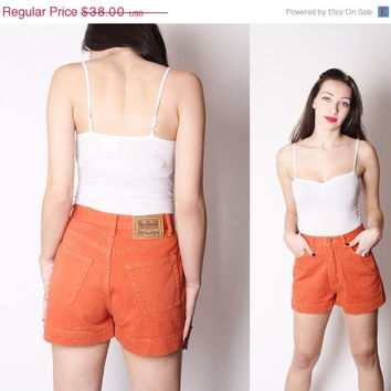 On SALE 60% Off - Vintage 90s Burnt Orange Jean Shorts / Cotton Denim Jean Shorts / Vintage Orange Denim / Vintage Short Shorts / Summer Sho