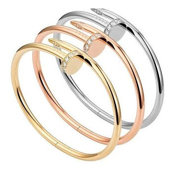 DCCKJ1A Cartier Stylish Couple Simple Diamond Fashion Nail Bracelet I
