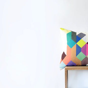 As seen on Apartment Therapy - Pastel Geometric Pillow with Tan, Pink, Navy, Red, Brown, Emerald, Yellow, Violet and Gray Wheat Figures