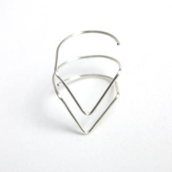 Double Chevron Silver Wire Ring