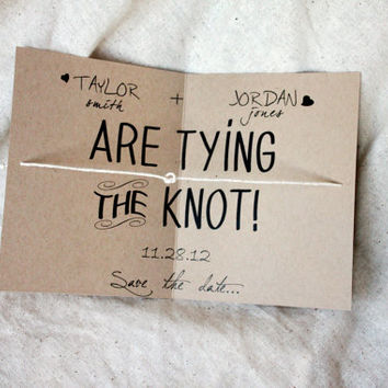 Eco Friendly Tying the knot save the date, tie knot rustic wedding, kraft save the date, kraft tying the knot, kraft tie the knot, set of 75