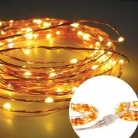 Homestarry® Connectable String Lights on Copper Wire - 100 Warm White LED - 33 Feet Long - You Can Plug One Stand Into Another String Light - Combine up to 8 of them together (264ft ,1000LEDS)- Flexibly Applicable in Such Places As Bedroom, Living Room, St