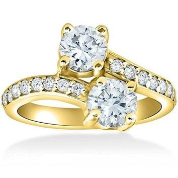 2 Ct Forever Us 2 Stone Diamond Ring 14k Yellow Gold