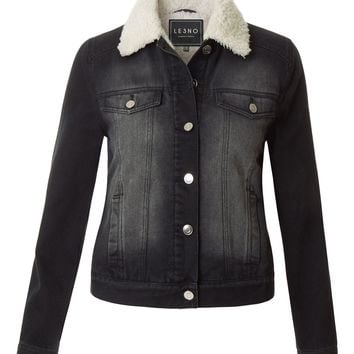 LE3NO Womens Classic Fitted Long Sleeve Faux Fur Collar Denim Jacket