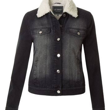 LE3NO Womens Classic Fitted Long Sleeve Faux Fur Collar Denim Jacket (CLEARANCE)
