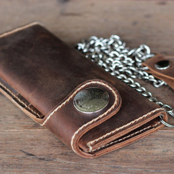 Leather Biker Wallet --- Leather iPhone 5 Wallet Case --- Mens Leather Wallets