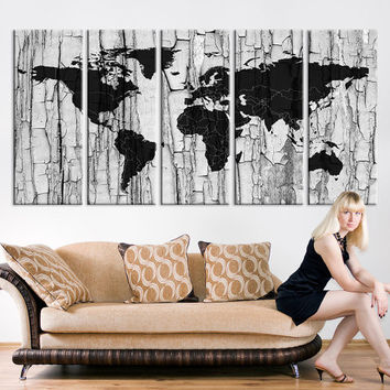 Black White Grunge World Map Wall Art, Old Wooden World Map Canvas Art Print No:043