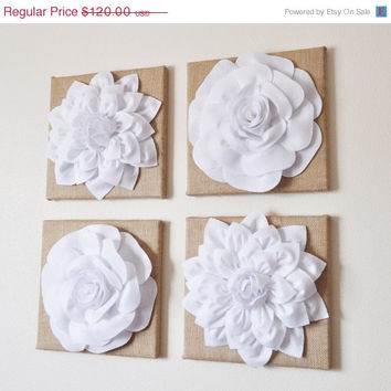 "MOTHERS DAY SALE Wall Decor - Set Of Four White Dahlias And Roses On Burlap 12 x 12 "" Canvases - Wall Art -"