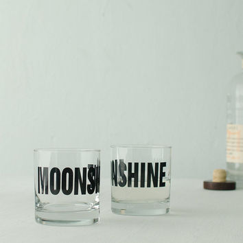 MOONSHINE  hand printed rocks glasses set of 4 by vital on Etsy