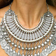 Silver Statement Drop Coin Necklace