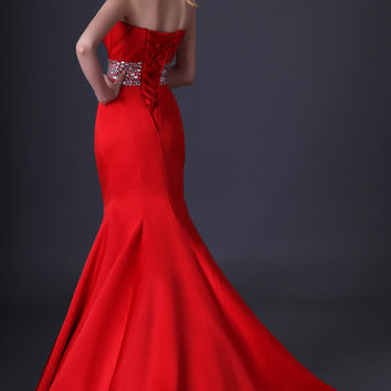Red Strapless Pleated Beaded-Waist Mermaid Evening Gown