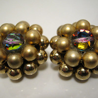 Vintage Cluster Earrings Beaded Clip Gold Tone and AB Mid Century Womens Mod Sparkle Jewelry