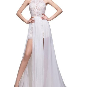 Lace Long Chiffon White Halter Open Back Prom Dresses OK7