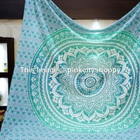 Ombre Mandala Tapestries, Hippie Wall Tapestries, Indian Tapestry Wall Hanging, Bohemian Boho Tapestries, Dorm Bed Tapestries Beach Blanket