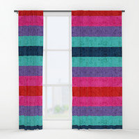 Colorful stripes on wall Window Curtains by edrawings38