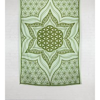 Green Mandala Lotus Flower Hippie Hippy Wall Hanging Throw Tapestry