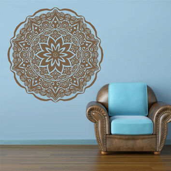 Wall Decal Vinyl  Mural Sticker Art Decor Bedroom Yoga Kitchen Ceiling Mandala Menhdi Flower Pattern Ornament Om Indian Hindu Buddha (z2854)