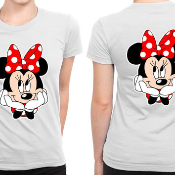 Disney Minnie Mouse Hipster Nerdy B 2 Sided Womens T Shirt