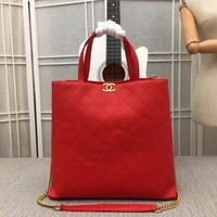 HCXX 19July 044 Model No AS0312A High-capacity Shopping Handbag Simple Fashion Chain Shoulder bage 33-35-13CM red
