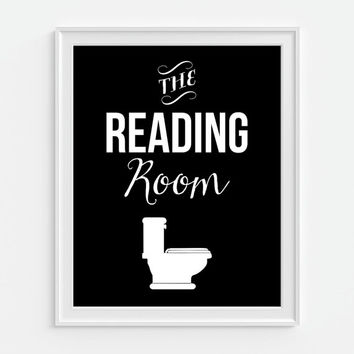 Bathroom Decor 'The Reading Room' Humorous Funny Art Print 5x7, 8x10, 11x14 Bathroom Art Print, Black & White Art, Bath Art
