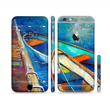 The Colorful Pastel Docked Boats Sectioned Skin Series for the Apple iPhone 6