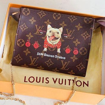 LV fashion hot selling lady full printed LOGO cartoon graffiti makeup bag