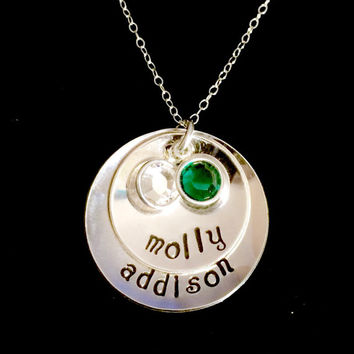 Personalized Sterling Silver Hand Stamped Names Layered Double Disc Birthstone Necklace by Tickle Bug Jewelry.