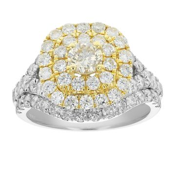 0.38 Carats 1 7 8 cttw Diamond Wedding Engagement Ring Set 14K Two Tone Gold 357671df2f