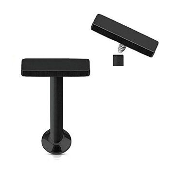 BodyJ4You Tragus Earring Cartilage Rectangle Stud Black Steel Barbell 8mm 16G 1.2mm Piercing Jewelry