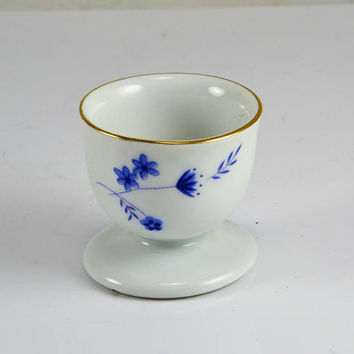 Arzberg Germany Egg Cup - Blue Floral Gold Trim Single Egg - Vintage