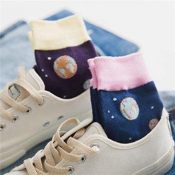 Creative Crew Cute Funny Socks Art Cartoon Planet Abstract Jacquard Painting Divertidos Characters Hip Hop Fashion Socks Women