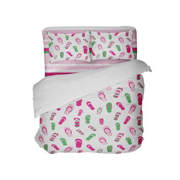 Preppy Pink and Green Beach Flip Flops Pillowcase from Surfer Bedding