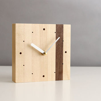 "Modern 5.5"" square desk clock walnut and birch wood with brushed aluminum hands and dots"